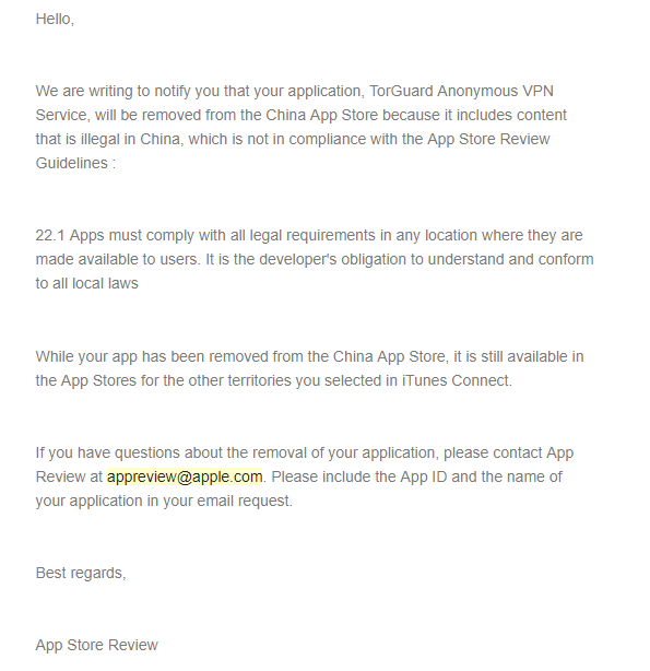 Apple's letter stating the decision to remove TorGuard VPN apps from China's iOS app store