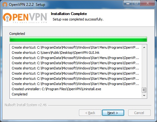 Windows7 OpenVPN VPN Setup: Step 6