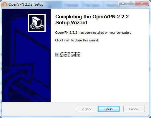 Windows7 OpenVPN VPN Setup: Step 7