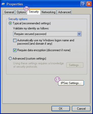 WindowsXP L2TP/IPSec VPN Setup: Step 10