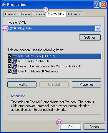 WindowsXP L2TP/IPSec VPN Setup: Step 12