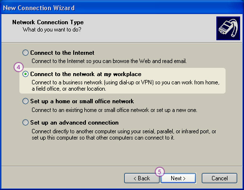 WindowsXP L2TP/IPSec VPN Setup: Step 4