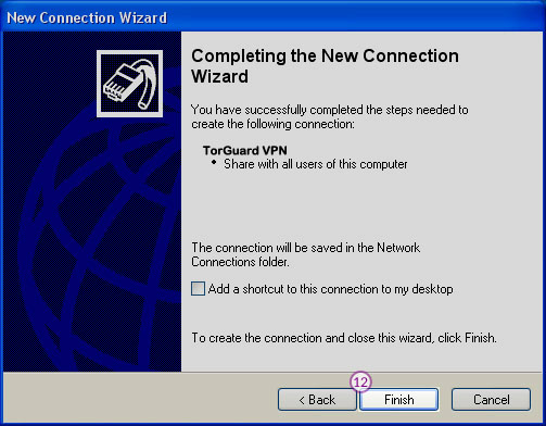 WindowsXP L2TP/IPSec VPN Setup: Step 8