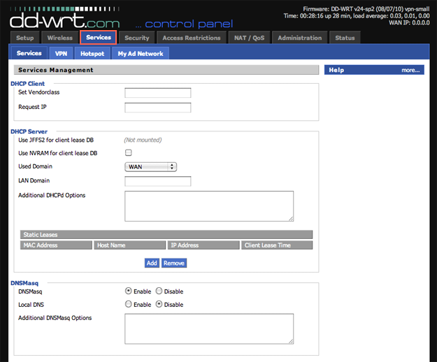 DD-WRT Web interface