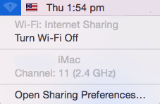 wi-fi sharing status in menu bar