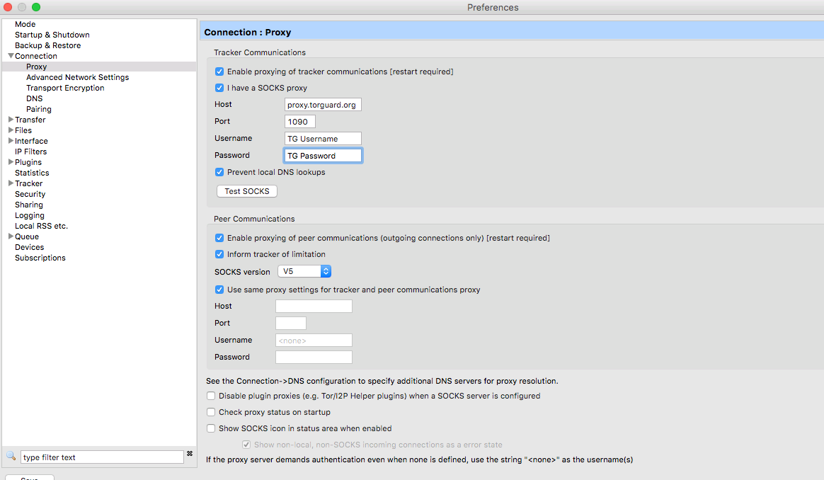 How to setup a SOCKS Proxy in Vuze on MAC OS - Knowledgebase