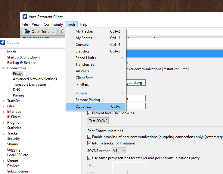 How to setup a SOCKS Proxy in Vuze on Windows