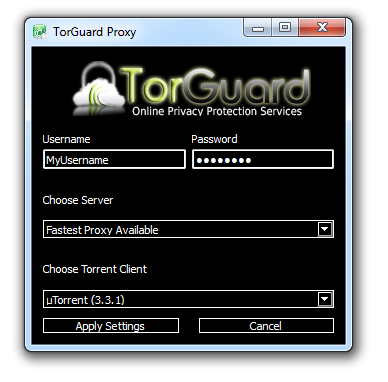Torguard's custom proxy installer for uTorrent, Vuze, or Deluge